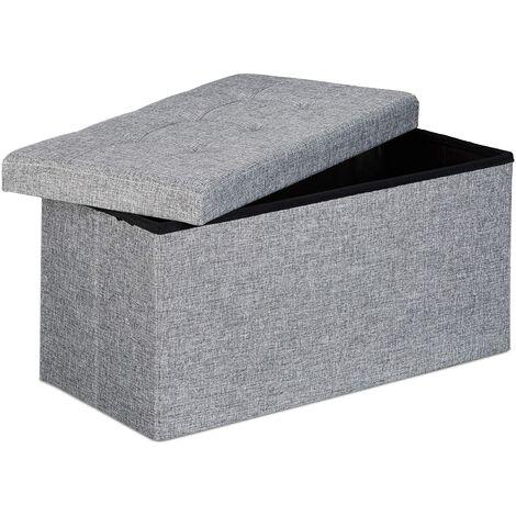 Tabouret banquette pouf de rangement pliant coffre repose-pieds 76 cm lin gris - Gris