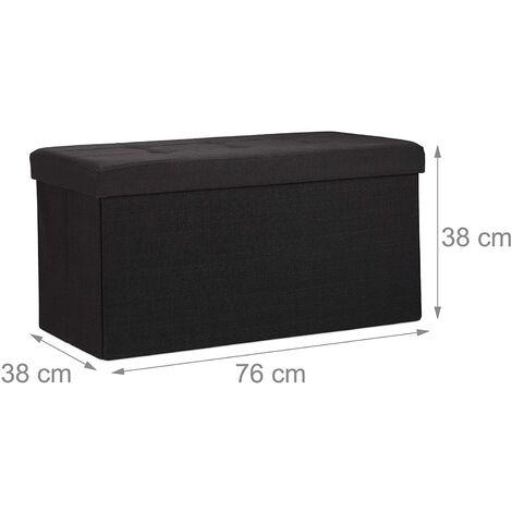 Tabouret banquette pouf de rangement pliant coffre repose-pieds 76 cm noir lin - Noir