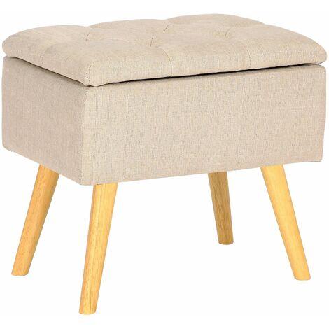 Tabouret bas Chloé avec pieds en bois et espace de rangement beige Tissu