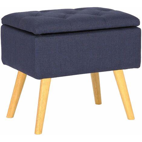 Tabouret bas Chloé avec pieds en bois et espace de rangement bleu Tissu