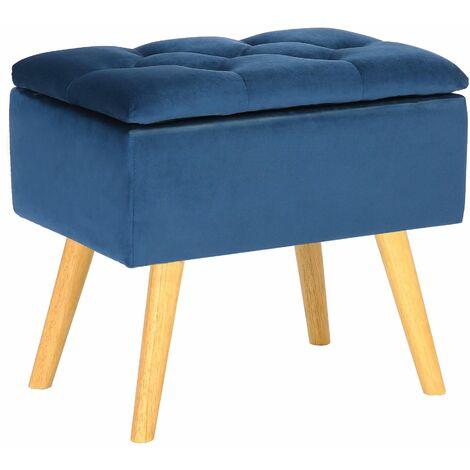 Tabouret bas Chloé avec pieds en bois et espace de rangement bleu Velours