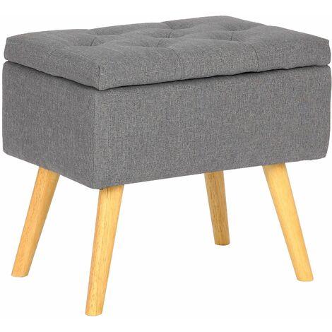 Tabouret bas Chloé avec pieds en bois et espace de rangement gris clair Tissu