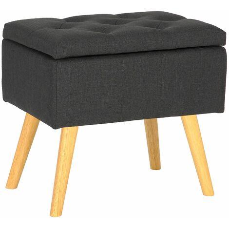 Tabouret bas Chloé avec pieds en bois et espace de rangement gris foncé Tissu