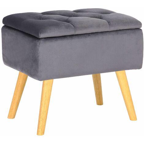 Tabouret bas Chloé avec pieds en bois et espace de rangement gris Velours