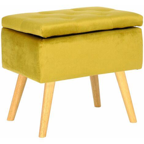 Tabouret bas Chloé avec pieds en bois et espace de rangement jaune Velours