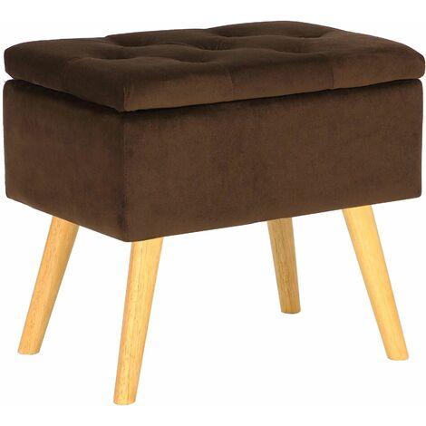 Tabouret bas Chloé avec pieds en bois et espace de rangement marron Velours