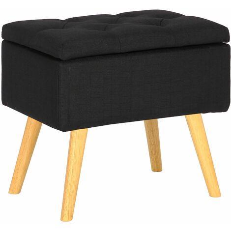 Tabouret bas Chloé avec pieds en bois et espace de rangement noir Tissu
