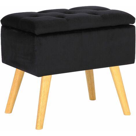 Tabouret bas Chloé avec pieds en bois et espace de rangement noir Velours