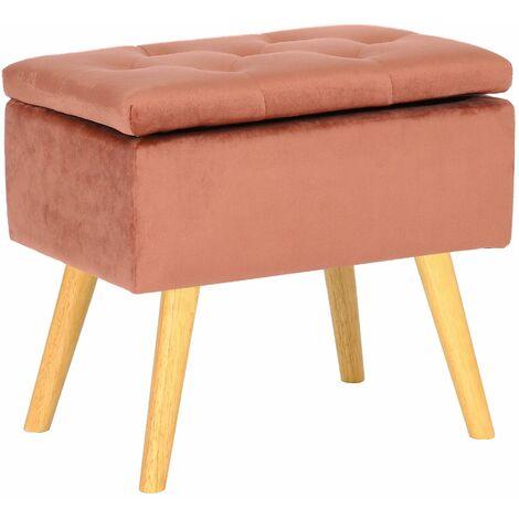 Tabouret bas Chloé avec pieds en bois et espace de rangement rose Velours
