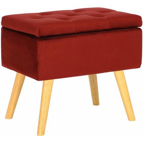 Tabouret bas Chloé avec pieds en bois et espace de rangement rouge Velours