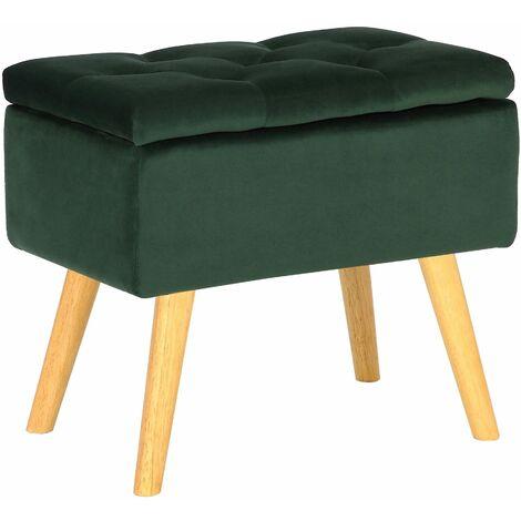 Tabouret bas Chloé avec pieds en bois et espace de rangement vert Velours