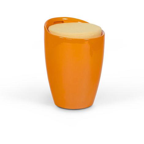 Tabouret bas en tissu/polymère orange - 35 x 35 x 50 cm - USAGE PROFESSIONNEL -PEGANE