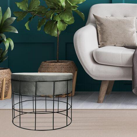 Tabouret basse pour salon en velours gris clair design industriel siège velouté