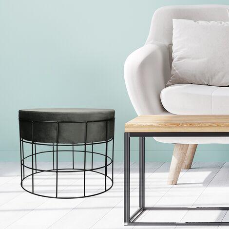 Tabouret basse pour salon en velours gris foncé design industriel siège velouté
