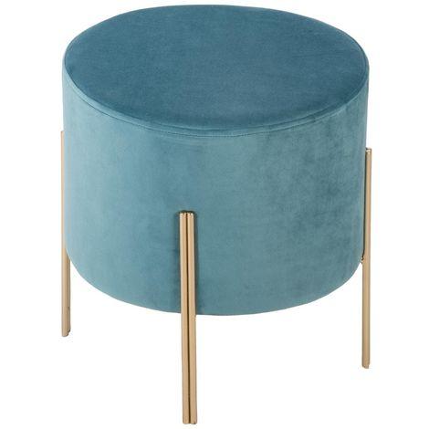 Tabouret bleu en velours - D. 34 x H. 40 cm -PEGANE-
