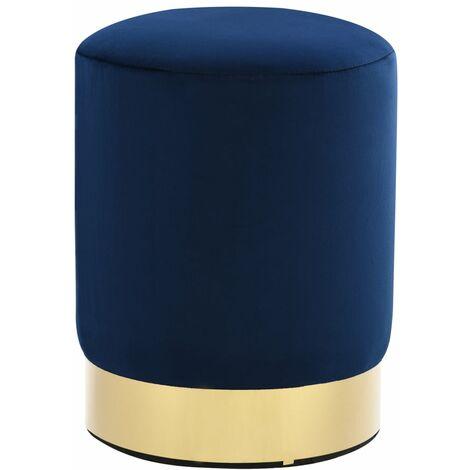 Tabouret Bleu et doré Velours