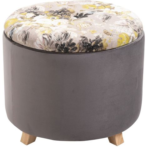 Tabouret BONITO coffre de rangement ottoman repose pieds bout de canapé pouf rond couvercle amovible motifs fleurs, en velours gris