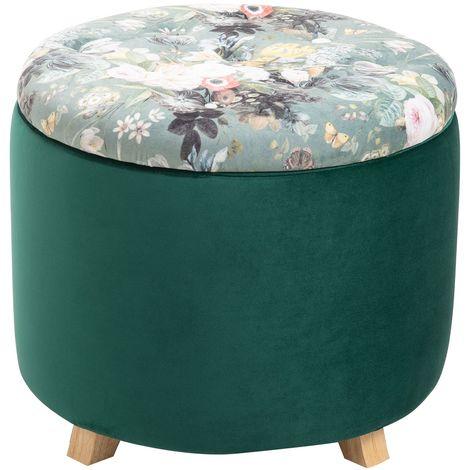 Tabouret BONITO coffre de rangement ottoman repose pieds bout de canapé pouf rond couvercle amovible motifs fleurs, en velours vert