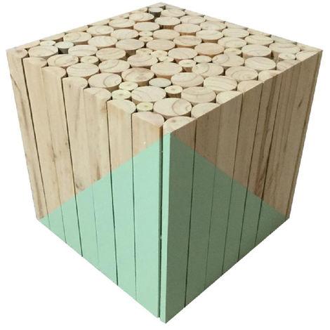 Tabouret carré en bois Vert d'eau - 30x30x30 cm