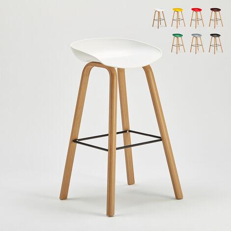 Tabouret chaise haut pour café et cuisine effet bois Towerwood