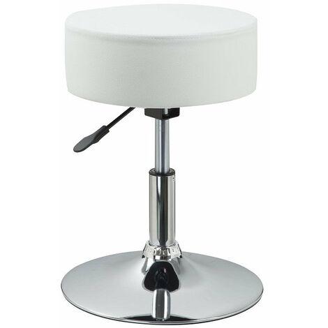 Tabouret chaise noir hauteur réglable cuir synthétique blanc