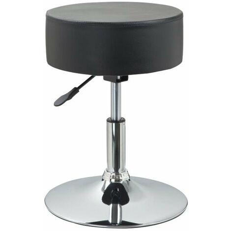 Tabouret chaise noir hauteur réglable cuir synthétique noir