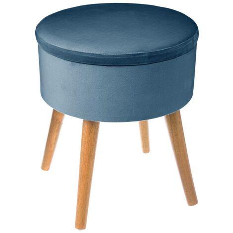 Tabouret coffre velours bleu foncé - Bleu