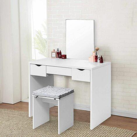 tabouret Coiffeuse avec coussin de siège 3 tiroirs blanc