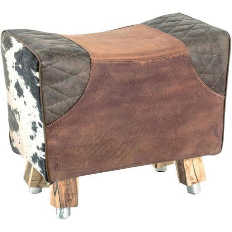 Tabouret coloris vintage en bois / cuir - Dim : L 57 x P 32 x H 48 cm -PEGANE-