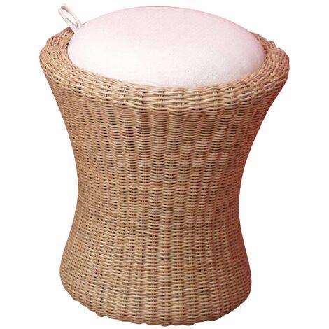 Tabouret confortable en rotin beige avec espace de rangement - Beige