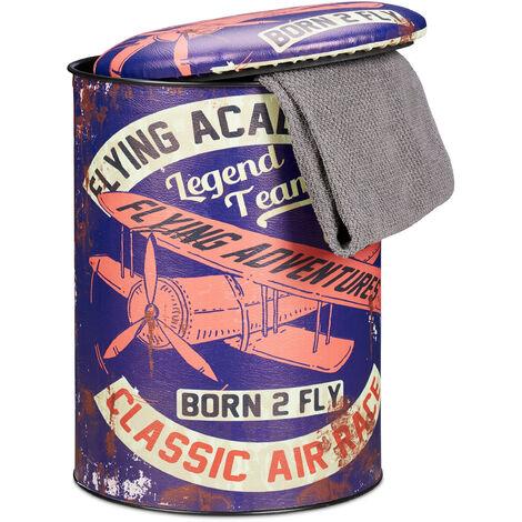 Tabouret cylindre avec couvercle Pouf vintage avec rangement coffre jouets enfants HxD: 44 x 32 cm, violet
