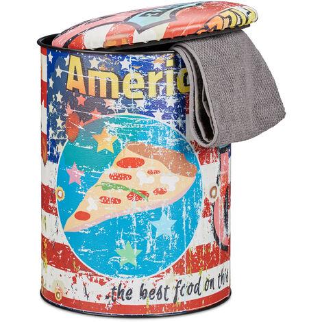 Tabouret cylindre Pizza couvercle Pouf vintage avec rangement coffre jouets enfants HxD: 44 x 32 cm, coloré