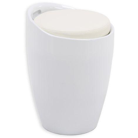 Tabouret DANIEL pouf rond coffre de rangement panier à linge siège avec assise rembourrée blanc, structure en plastique blanc