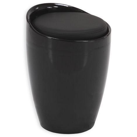 Tabouret DANIEL pouf rond coffre de rangement panier à linge siège avec assise rembourrée noir, structure en plastique noir