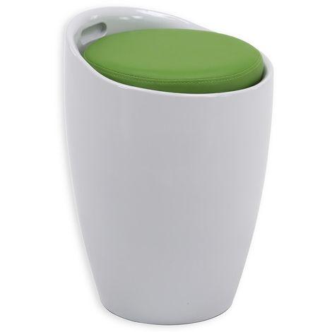 Tabouret DANIEL pouf rond coffre de rangement panier à linge siège avec assise rembourrée vert, structure en plastique blanc