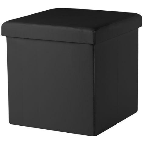Tabouret d'assise en cube noir banquette de siège banquette de poitrine banquette de pied cube rabattable