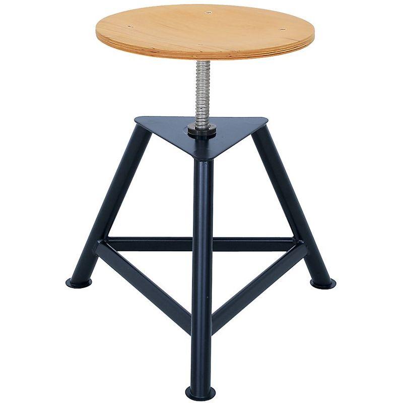 Tabouret d'atelier avec assise en contreplaqué de hêtre - tabouret pivotant à trois pieds - hauteur réglable par - Coloris piétement: noir profond