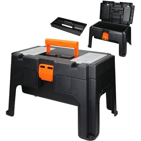 Tabouret d'atelier boîte à outils 2en1 avec compartiments rangement en plastique