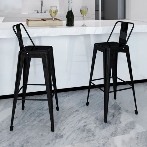 Tabouret de bar 2 pcs Carré Blanc