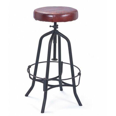 Tabouret de bar ajustable industriel noir/marron Carla - Marron