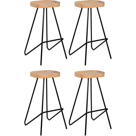 Tabouret de bar assise moulée en métal et bois d'orme huilé Lot de 4
