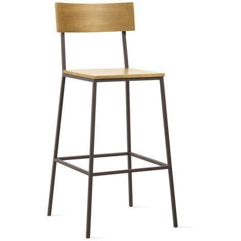 tabouret de bar avec dossier en pin et métal marron - LINEA - Marron