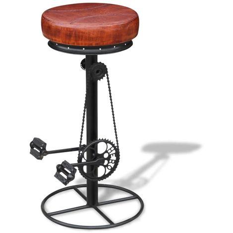 Tabouret de bar avec pedales de velo Cuir veritable Marron et noir