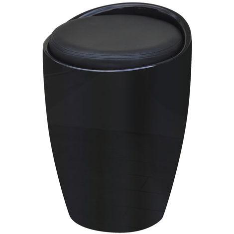 Tabouret de bar avec siege amovible Cuir artificiel Rond Noir