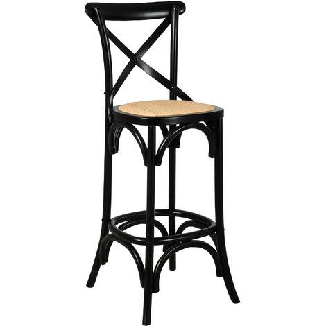 Tabouret de bar bois et rotin Bistrot chic Bouleau laqué noir - Bouleau laqué noir
