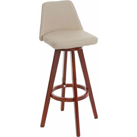 Tabouret de bar Boras, chaise de comptoir, bois, similicuir, rotatif