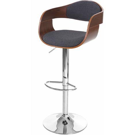 Tabouret de bar Carlow, chaise de comptoir, design rétro, bois de proue ~ aspect noix, gris foncé