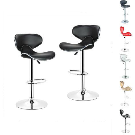 Tabouret de Bar, Chaise de Bar, Lot de 2, Design Contemporain, Pivotant et Réglable en Hauteur 85 cm - 105 cm Noir