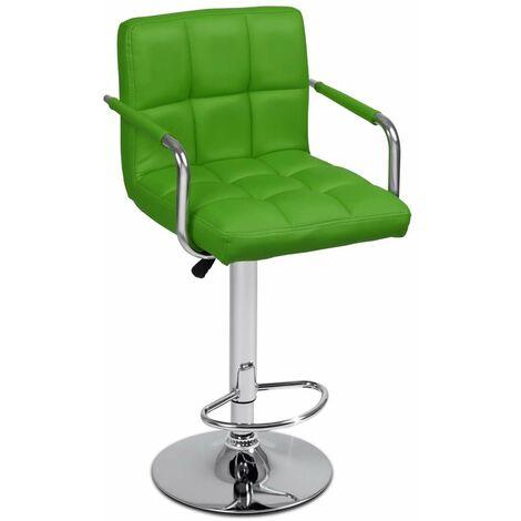 Tabouret de bar chaise design simili avec dossier et accoudoirs ergonomique vert