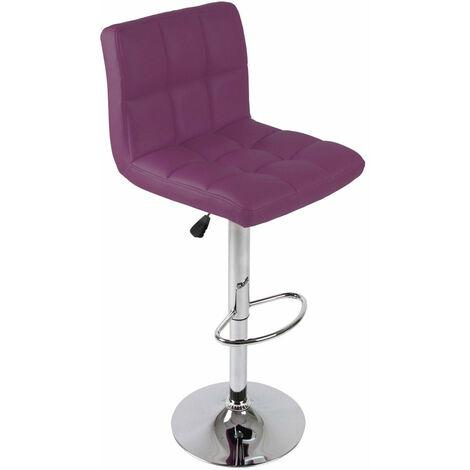 Tabouret de bar chaise design simili avec dossier violet
